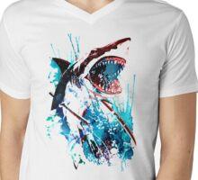 Samurai Shark Mens V-Neck T-Shirt