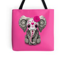 Pink Day of the Dead Sugar Skull Baby Elephant Tote Bag