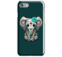 Teal Blue Day of the Dead Sugar Skull Baby Elephant iPhone Case/Skin