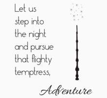 That flighty temptress, adventure (black) Kids Tee
