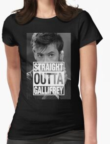 Straight Outta Gallifrey- TENNANT Womens Fitted T-Shirt