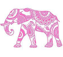 Patterned Elephant - Pink Photographic Print