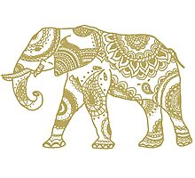Patterned Elephant - Gold Photographic Print