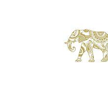 Patterned Elephant - Gold by eliannadraws
