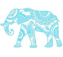Printed Elephant - Blue Photographic Print