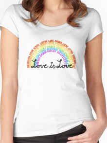 "LGBTQ+ Rainbow ""Love is Love"" multi-language  Women's Fitted Scoop T-Shirt"