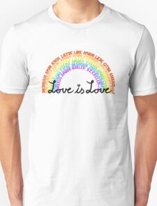 "LGBTQ+ Rainbow ""Love is Love"" multi-language  Unisex T-Shirt"