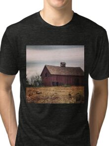 Rustic Red Barn Surrounded by Fields of Gold Tri-blend T-Shirt