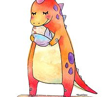 Cute Dino Mother & Baby Egg by beaglecakes