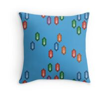 Zelda Inspired Rupee Pattern - Blue Throw Pillow