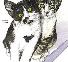 Friends - two cute kittens - tabby & tuxedo by Jillian Crider
