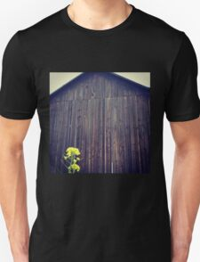 Distressed Old Barn with Yellow Wildflower Unisex T-Shirt