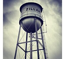 Small Town Water Tower Photographic Print