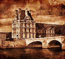 Paris - Le Louvre Palace near the Royal Bridge by jean-louis bouzou