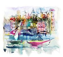 Watercolor illustration. Town. by Teni