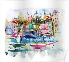 Watercolor illustration. Town. Poster