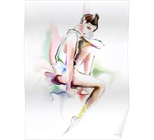 fine young ballerina sitting  Poster