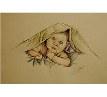 Baby and Blanket  Photographic Print