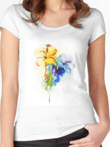 Floral watercolor illustration Women's Fitted Scoop T-Shirt