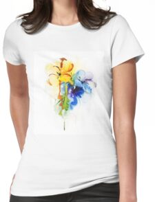 Floral watercolor illustration Womens Fitted T-Shirt