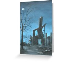 Imaginary Abbey Moonlit Landscape Greeting Card