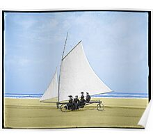 Sailing on the beach Poster