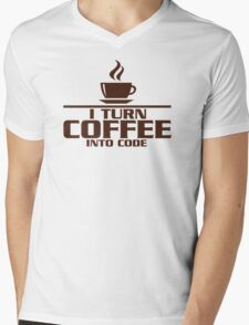 I turn coffee into Code Mens V-Neck T-Shirt