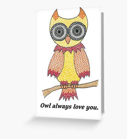 Yellow Owl Greeting Card