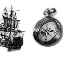 Ship and Compass by Yourssincerely Larry