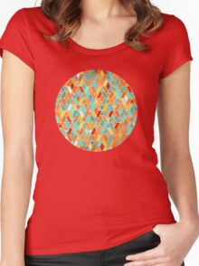 Tangerine & Turquoise Geometric Tile Pattern Women's Fitted Scoop T-Shirt