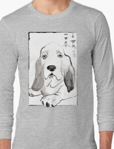 Hound in Japanese Ink Wash Long Sleeve T-Shirt