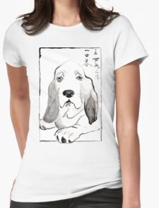 Hound in Japanese Ink Wash Womens Fitted T-Shirt