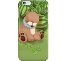 White Socks Series: Bear in Watermelon Field iPhone Case/Skin
