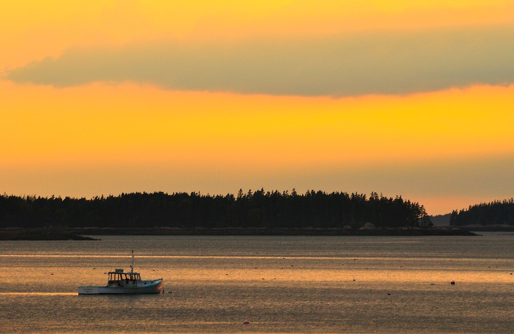 Boat, Sunset, Jonesport, Maine by fauselr