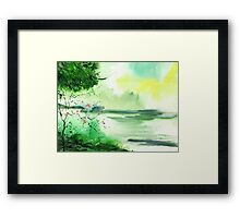 Lake in clouds Framed Print