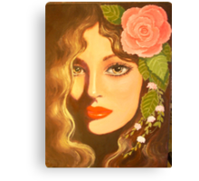 LADY WITH A ROSE IN HER HAIR Canvas Print