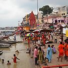 Evening-Bath at Varanasi India by BasantSoni