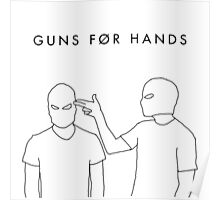 "twenty øne piløts - ""guns for hands"" minimalist typography + line art (white) Poster"