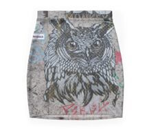 Owl 'Monkey Bird' Graffiti  Mini Skirt