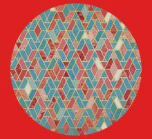 Melon and Aqua Geometric Tile Pattern One Piece - Short Sleeve