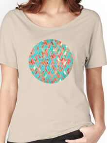 Melon and Aqua Geometric Tile Pattern Women's Relaxed Fit T-Shirt