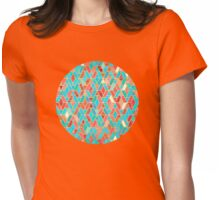 Melon and Aqua Geometric Tile Pattern Womens Fitted T-Shirt