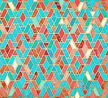 Melon and Aqua Geometric Tile Pattern by micklyn