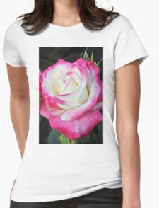 Pink and white rose Womens Fitted T-Shirt