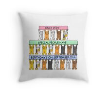 Cats celebrating Birthdays on September 10th. Throw Pillow