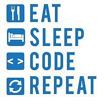 Eat Sleep Code Repeat BLUE by Workwithstellio