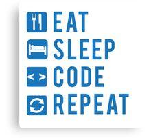 Eat Sleep Code Repeat BLUE Canvas Print