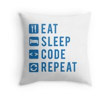 Eat Sleep Code Repeat BLUE Throw Pillow