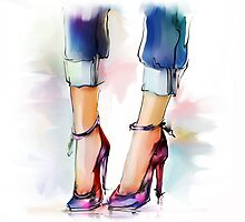 Shoes. Hand painted fashion illustration  by Teni