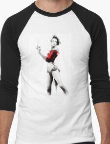 Beautiful woman holding a cup of coffee Men's Baseball ¾ T-Shirt